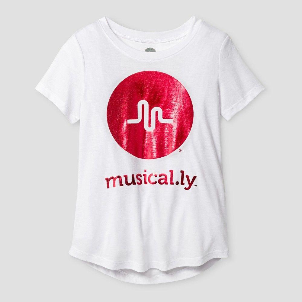 e4fe8a1a12c8 Girls' musical.ly Shimmer Short Sleeve T-Shirt - White M in 2019 ...