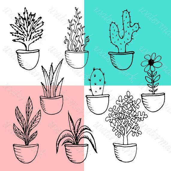 Hand drawn Doodle potted plants clipart от JulieDigitalArt на Etsy