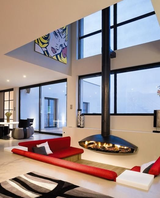 Sunken Living Room Houzz: Cozy Living Room Designs With Fireplaces Defined By Sunken