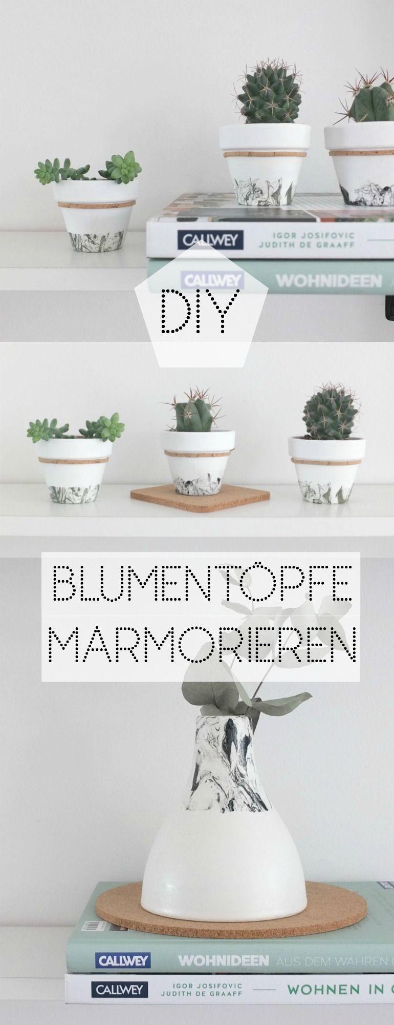 WOHNGOLDSTÜCK » [DIY] ↠ Mini-Jungle: Marmor Effekt für eure Blumentöpfe! »