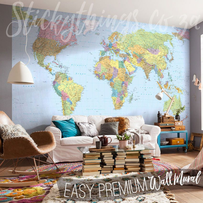 Giant world map wallpaper in a lounge 1 suppliers walls wall murals archives stickythings wall stickers south africa gumiabroncs Images