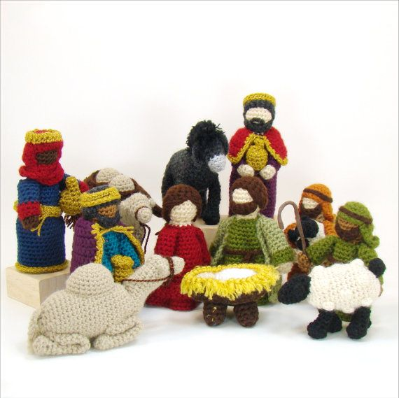 Nativity Creche Crochet Pattern Mary Joseph Jesus Shepherds Sheep 3 Kings Camels Donkey PDF INSTANT DOWNLOAD