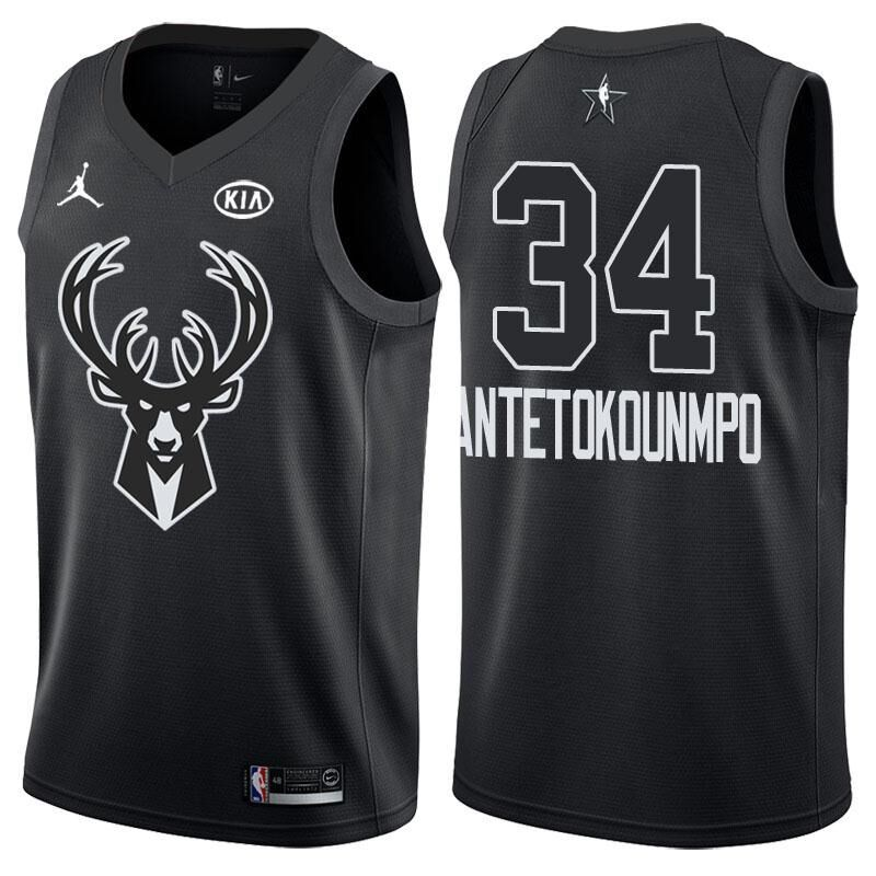 e5ba8ac32 2018 All Star Game jersey  34 Giannis Antetokounmpo Black jersey ...