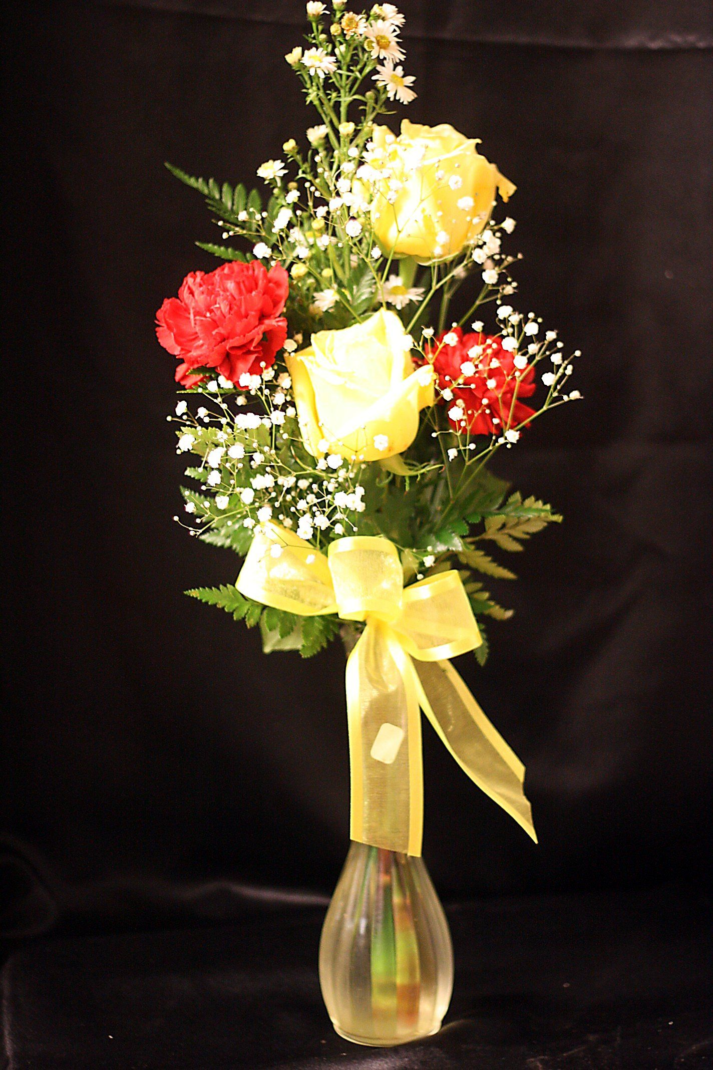 Yellow rose and carnation bud vase Mothers day flowers