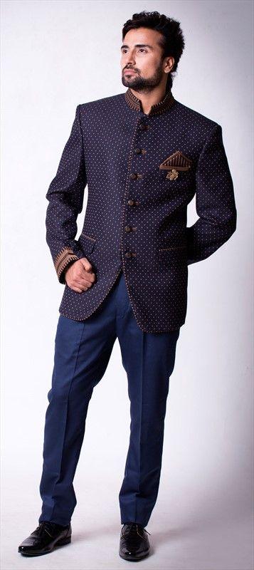 503740 Blue Purple And Violet Color Brocade Fabric Jodhpuri Suit