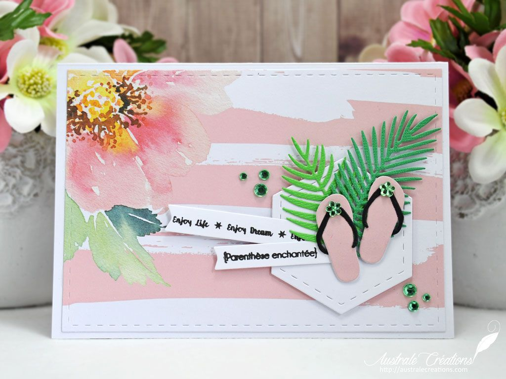 parenth se enchant e carte d 39 t avec tongs et feuilles de palmier summer card mes cartes. Black Bedroom Furniture Sets. Home Design Ideas
