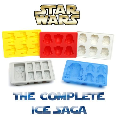Get the complete collection of Star Wars ice cube trays with the Star Wars The Complete Ice Saga set! Featuring ice cube molds of Darth Vader, Storm Troopers, X-Wing Fighters, Han Solo and R2-D2. Each high quality silicone tray is perfect for making ice cubes as well as mini chocolates and jelly molds. $36.95