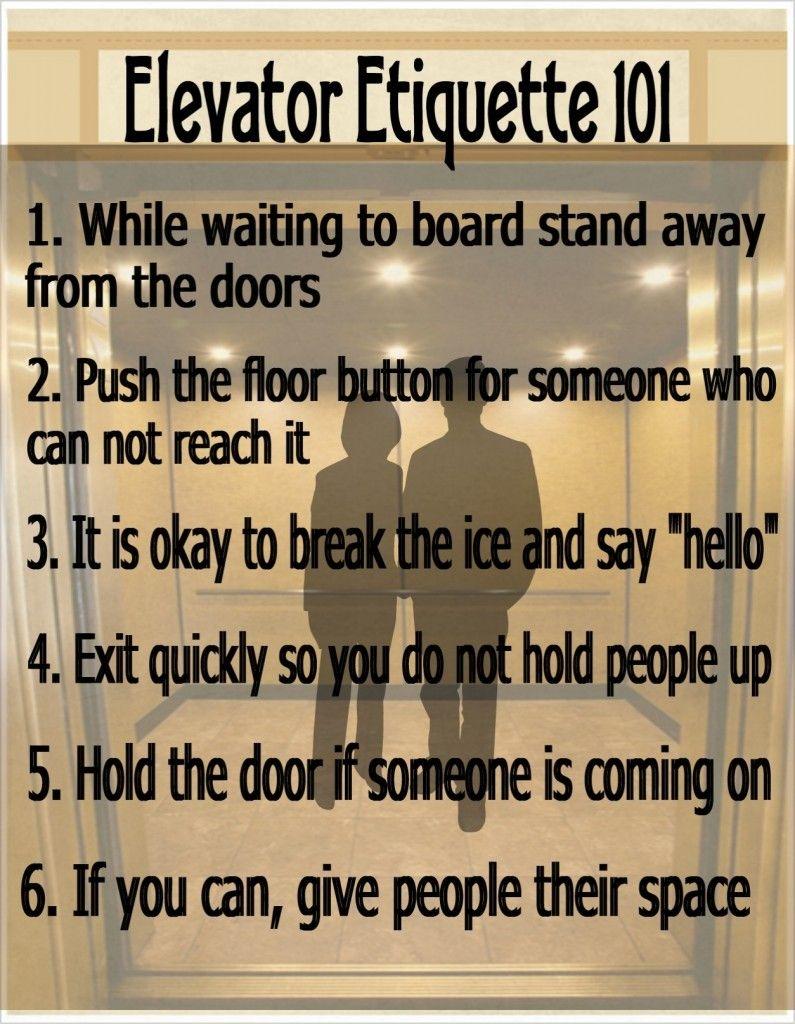 Sei regole importanti di #galateo dell'ascensore. #etiquette
