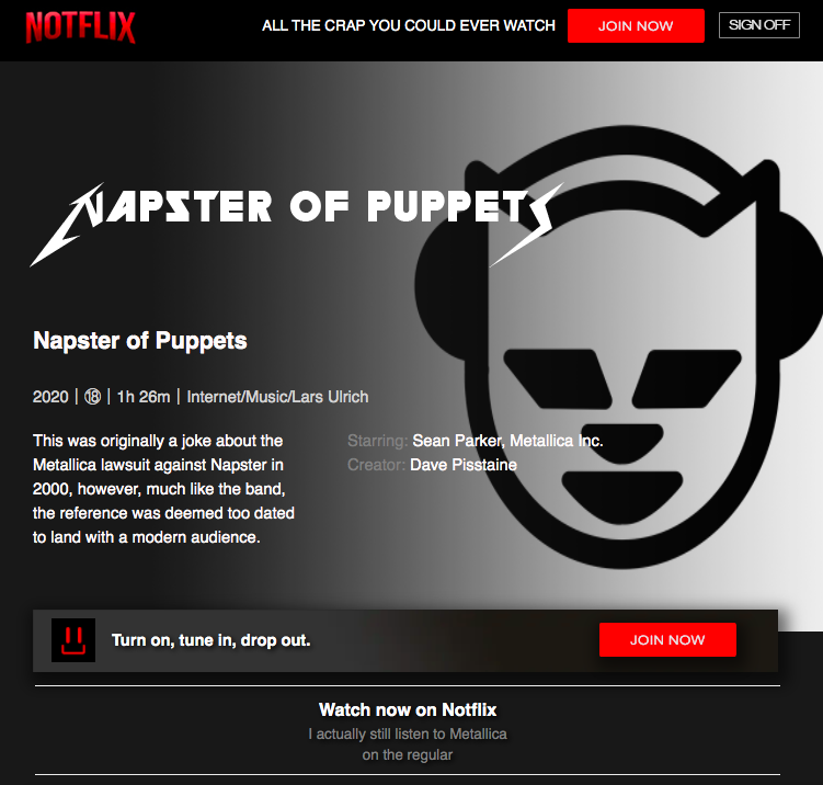 Napster Of Puppets Available Now On Notflix This Was Originally A Joke About The Metallica Lawsuit Against Napster In Napster Internet Music Music Memes