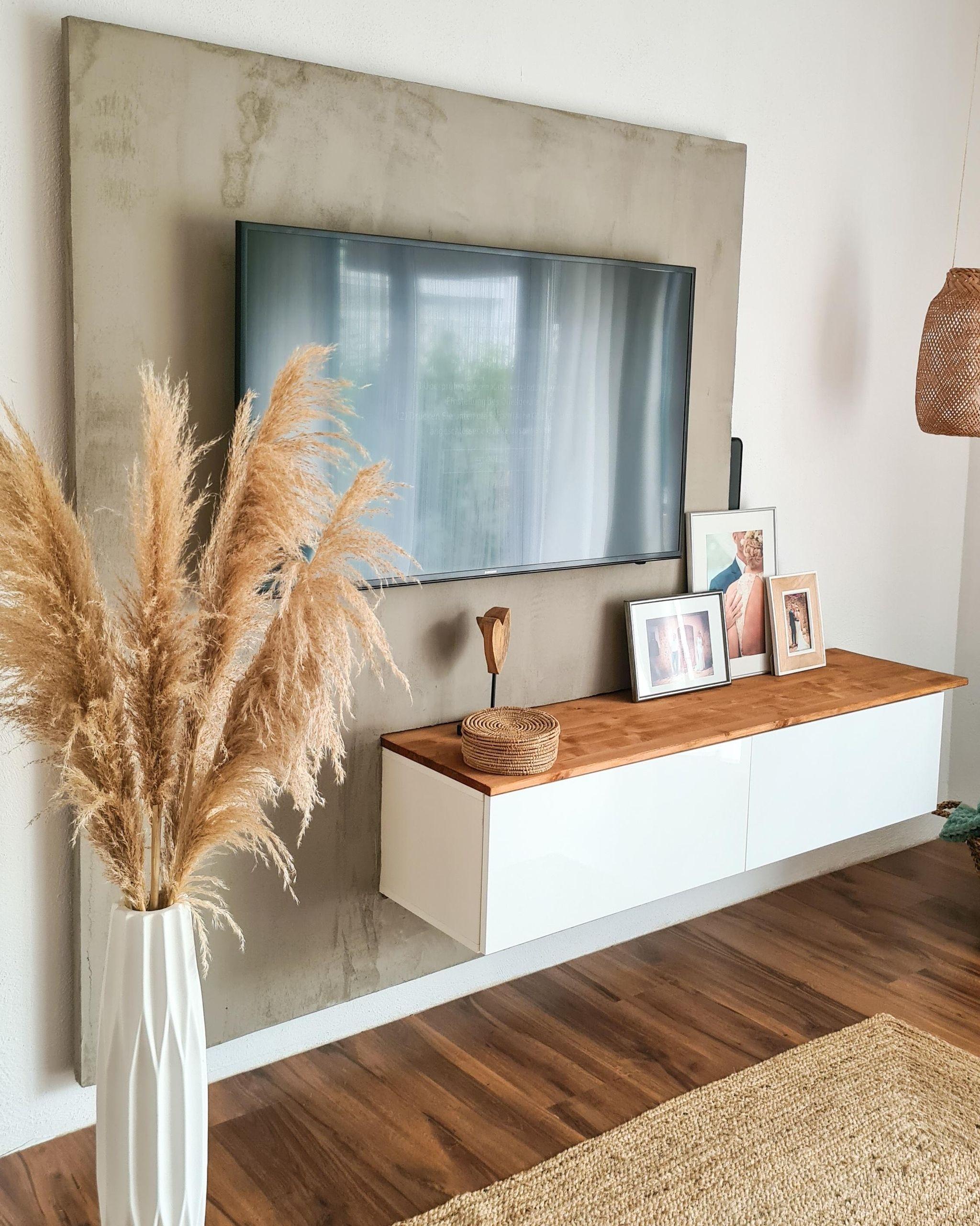 tv wand in betonoptik betondesign tvw wohnung wohnzimmer einrichten ideen modern wanddekoration kinderzimmer wandobjekt metall silber