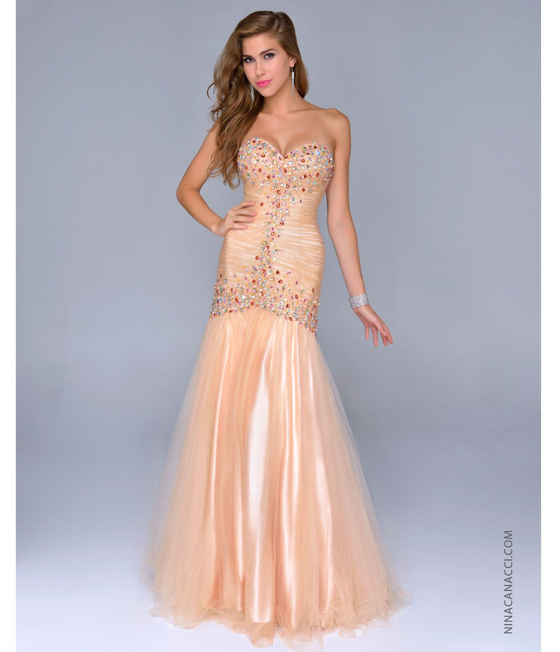 Nina Canacci 2014 Prom Dresses - Gold Tulle & Beaded Strapless ...