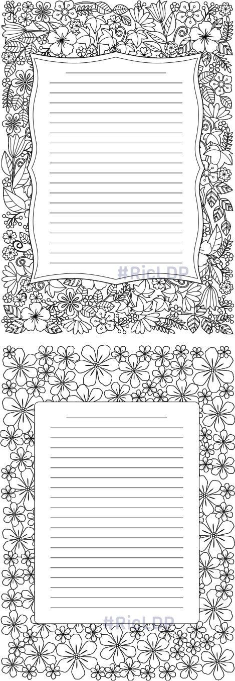 Four Coloring Journals Coloring Journal Writing Paper Printable Stationery Free Writing Paper