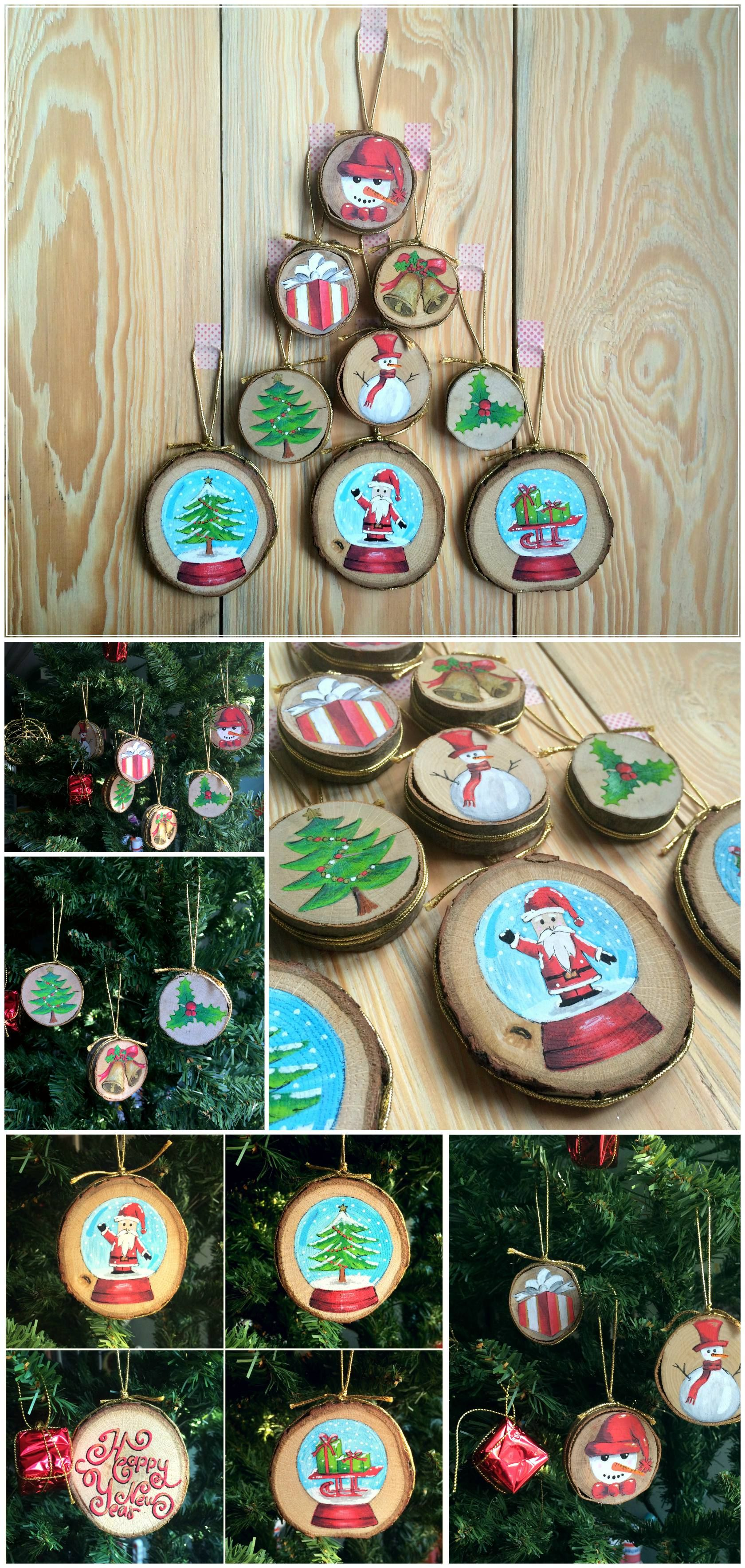 Wood Slice Ornaments Big 3pcs Hand Painted Christmas