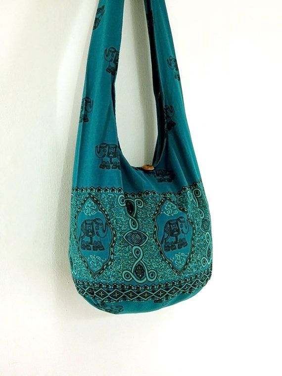 08f41c72b5 Handmade Cotton Elephant Printed bag Hippie bag Hobo bag Boho bag Shoulder  bag Sling bag Messenger bag Tote bag Crossbody Purse -Green Teal on Etsy
