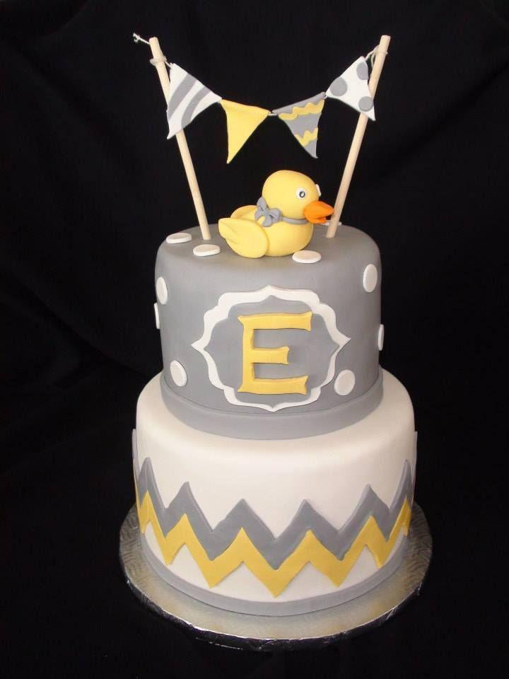 White Grey Yellow Duck Baby Shower Cake Creation Maman Gateau