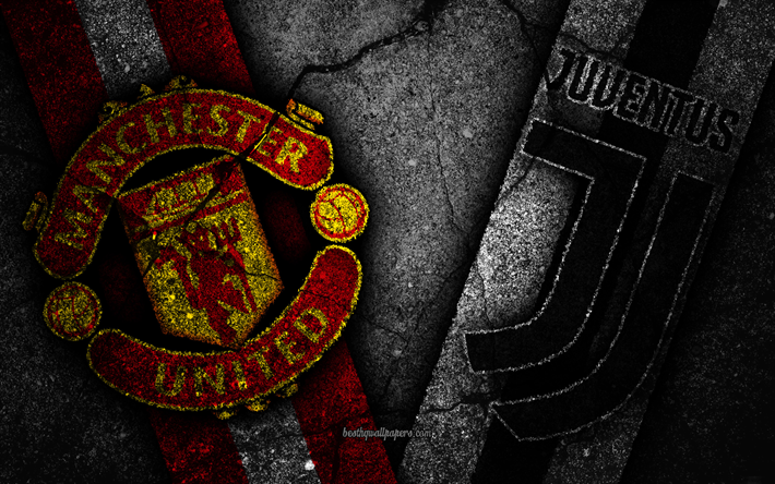 Get Good Looking Manchester United Wallpapers Desktop Download wallpapers Manchester United vs Juventus, Champions League, Group Stage, Round 3, creative, Manchester United FC, Juventus FC, black stone