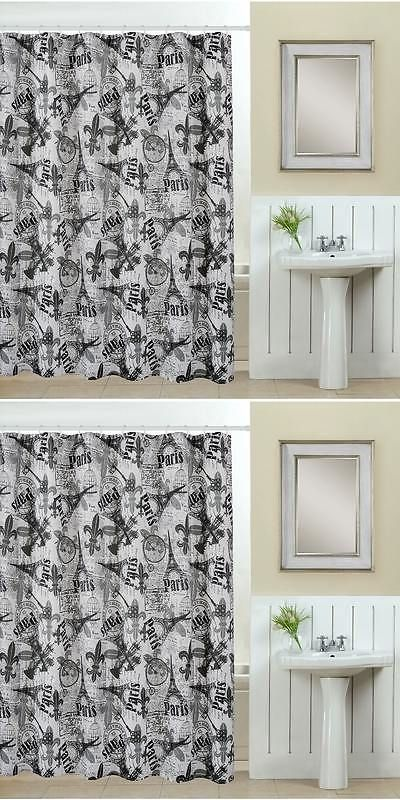 Shower Curtains 20441 13 Piece Paris Printed Fabric Curtain With Roller Hooks