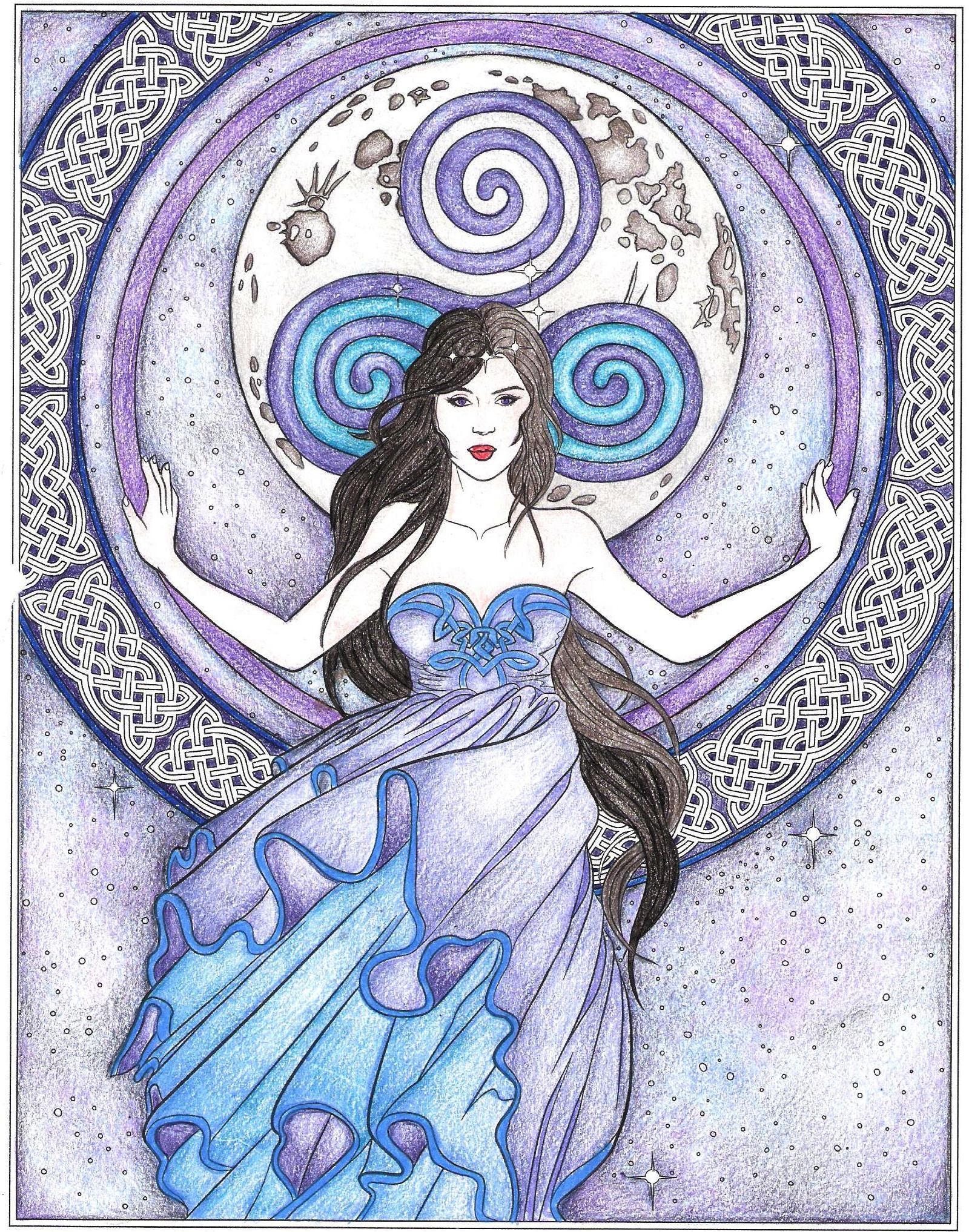 Arianrhod From Goddess And Mythology Coloring Book By Selina Fenech Fairies And Fantasy Enchanted Forest Coloring Book Coloring Books Pagan Art