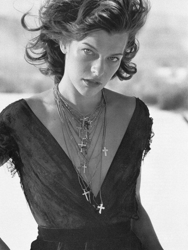 Milla Jovovich by Peter Lindbergh - love the layered cross necklaces | @andwhatelse