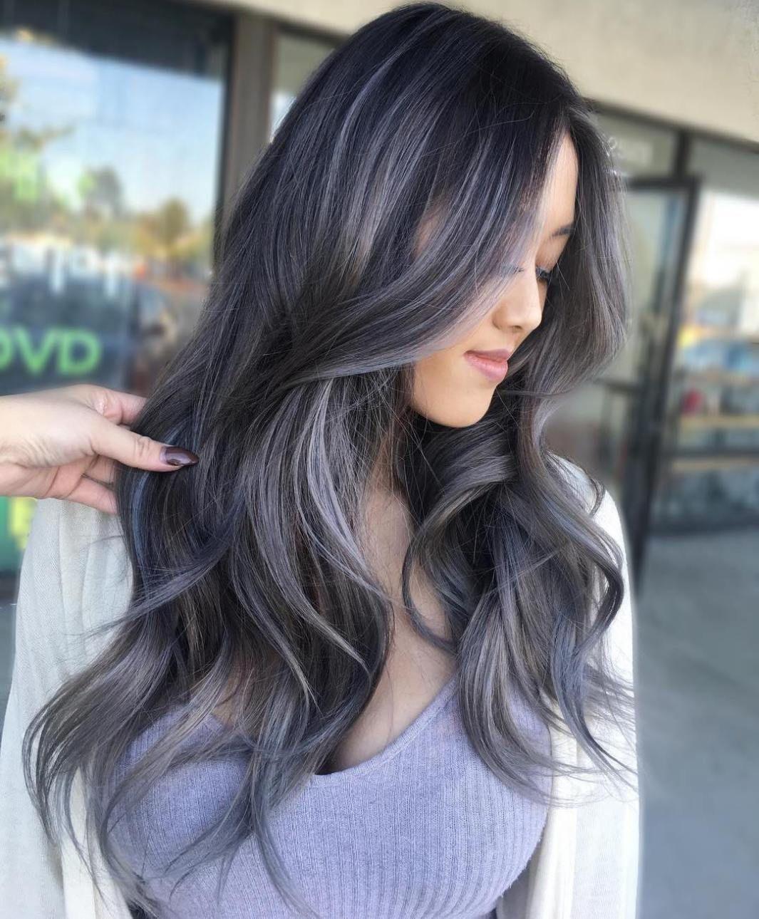 Dark Brown Hair With Silver Balayage Grey Brown Hair Hair Styles Gray Balayage