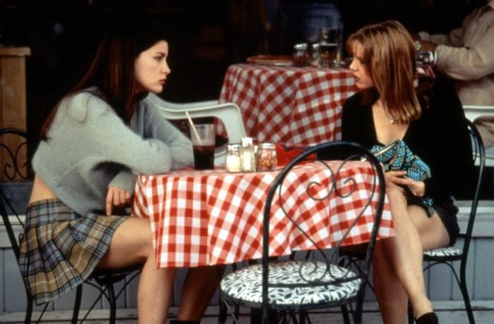Liv Tyler perfected the cropped mohair sweater look in Empire Records in 1995, as did Alicia Silverstone in Clueless that same year. Coincidentally, they both paired them with plaid miniskirts — and a hot trend was born.