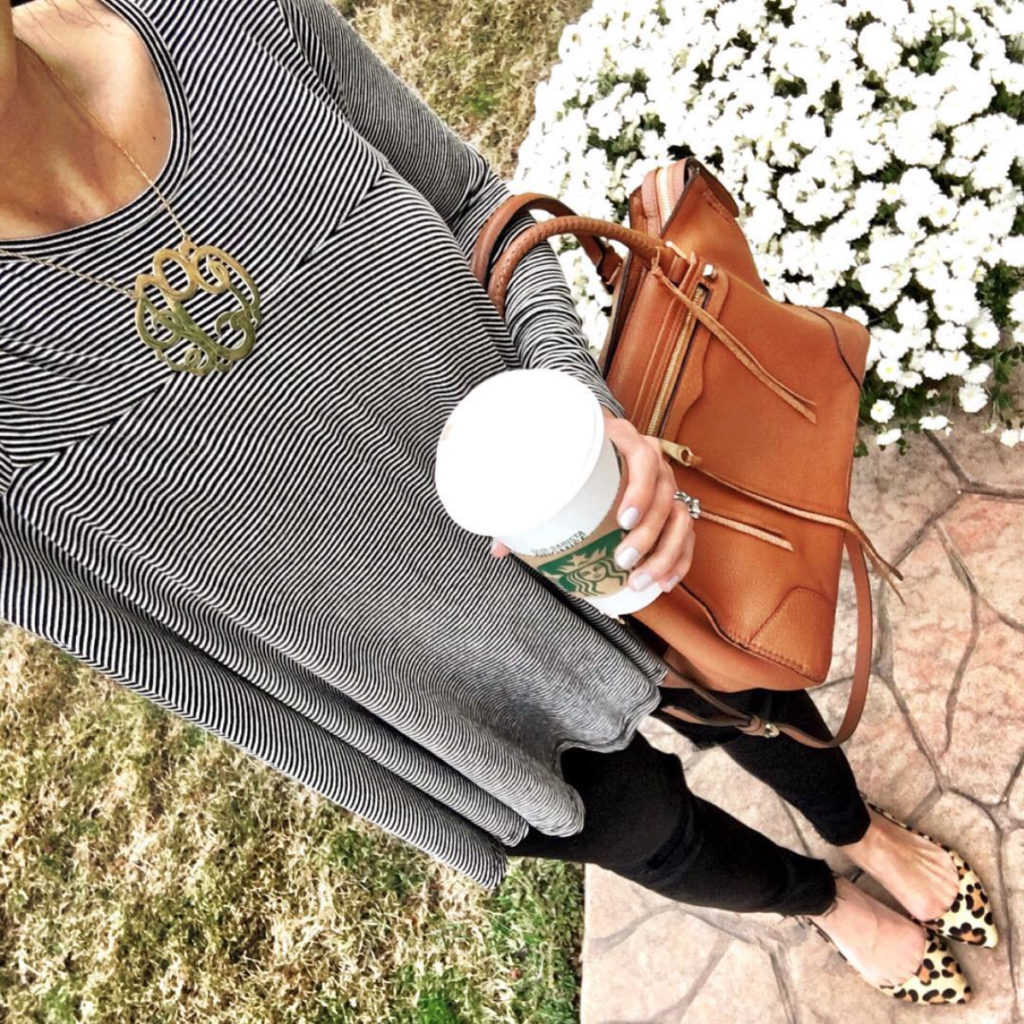 IG @mrscasual <click through to shop this outfit> Striped Swing Tee, leopard flats, cognac satchel large monogram necklace