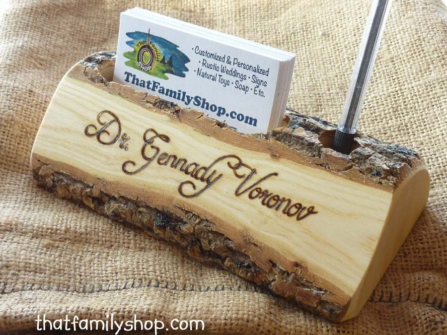 Custom Made Woodsy Business Card And Pen Holder For The