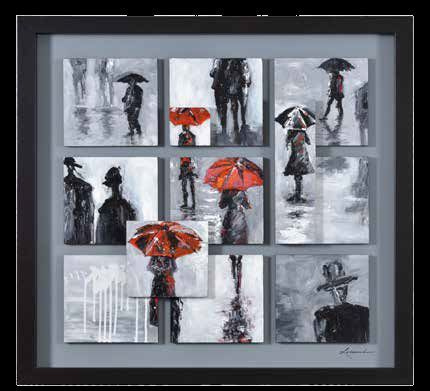 Hand Painted Red Umbrella Wall Art