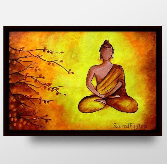 Buddha wall art, buddha on canvas, meditation painting, modern ...