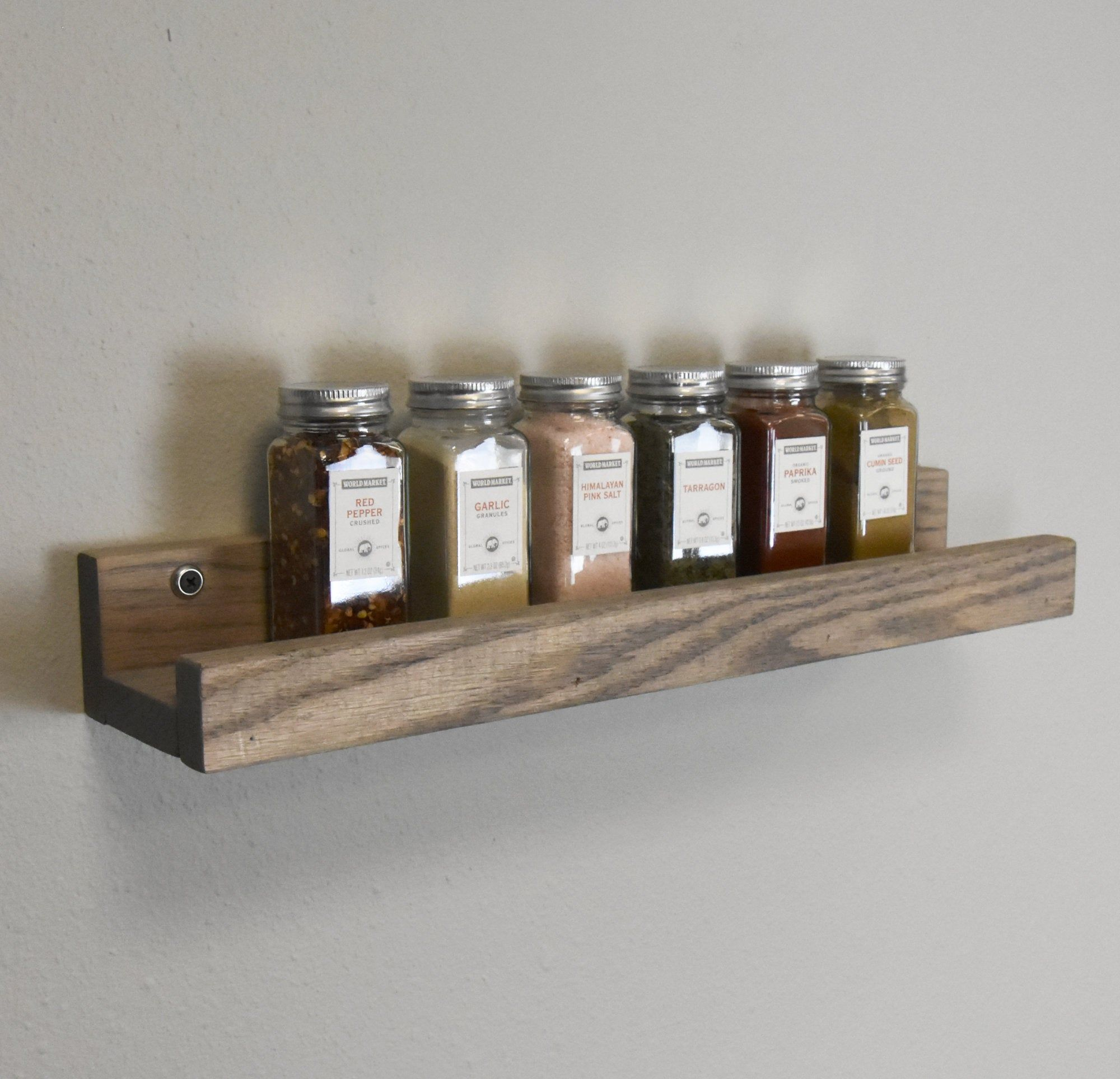 Solid Oak Spice Rack Gray Wash Stained Spice Organizer Picture Ledge Kitchen Spice Tray Wall Mounted Kitc Kitchen Spice Racks Spice Tray Spice Organization