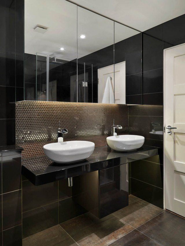 101 photos de salle de bains moderne qui vous inspireront - Salle De Bain Gris Et Noir
