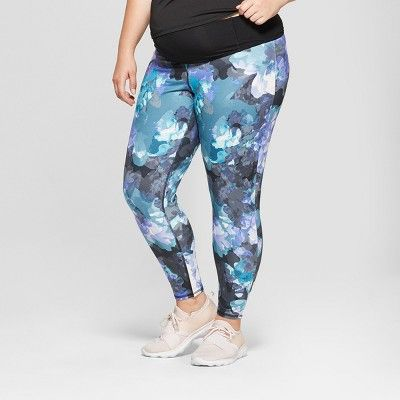 ba09d474f1 Maternity Plus Size Floral Print Active Leggings with Crossover Panel -  Isabel Maternity by Ingrid
