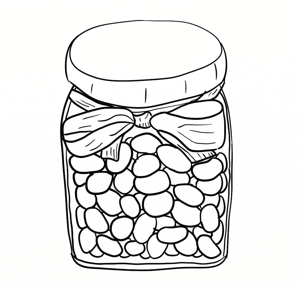 Jelly Beans In Jar Coloring Page