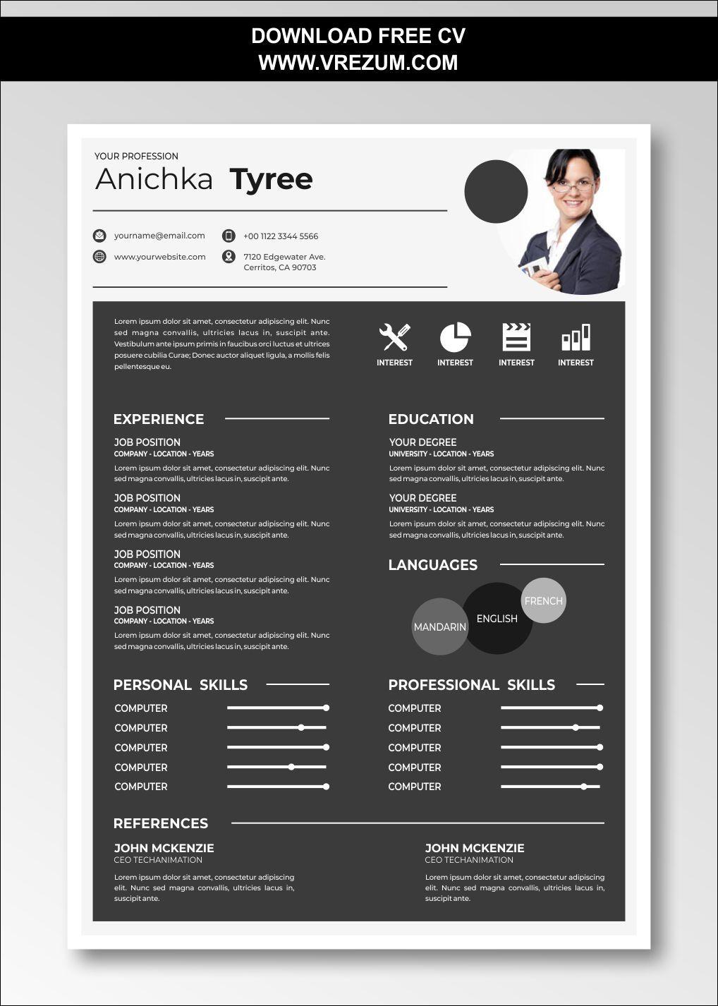 Editable free cv templates for hr executive cv