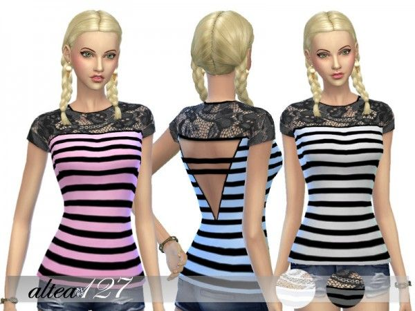 The Sims Resource: Striped shirt by Altea127 • Sims 4 Downloads