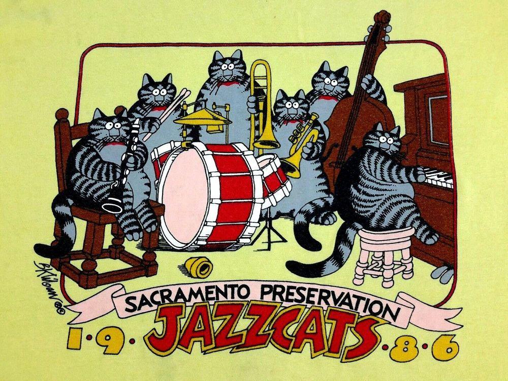 Kliban Cat L Crazy Shirt Hawaii Vtg 1986 JazzCats Band Sacramento very faded #CrazyShirts #GraphicTee