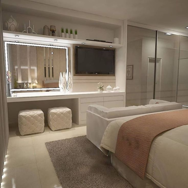 Cozy suite with panel that accommodates the TV and the led mirror. Project: Ma . #cozybedroom