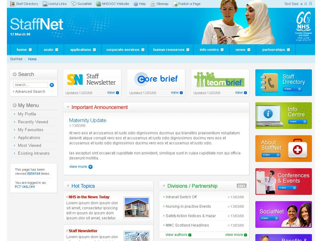 Nhs Staff Net 2 Intranet Designs Design Portal Design