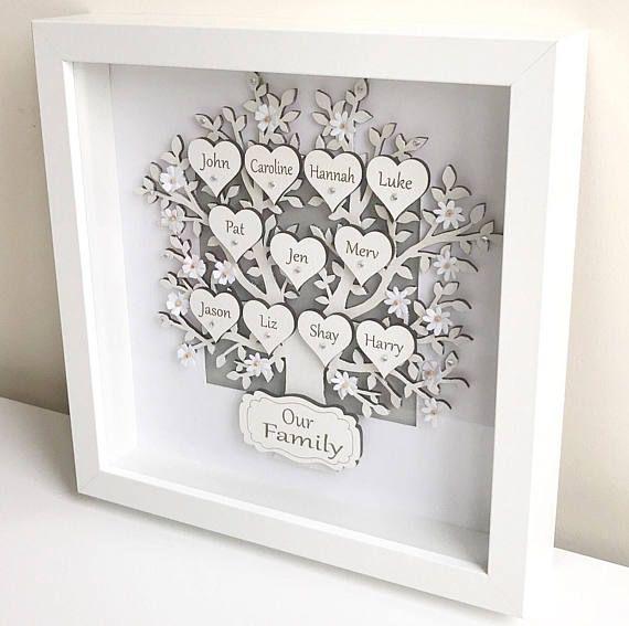 Family Tree Frames Personalised Gifts Box Frame Keepsake | xmas DIY ...