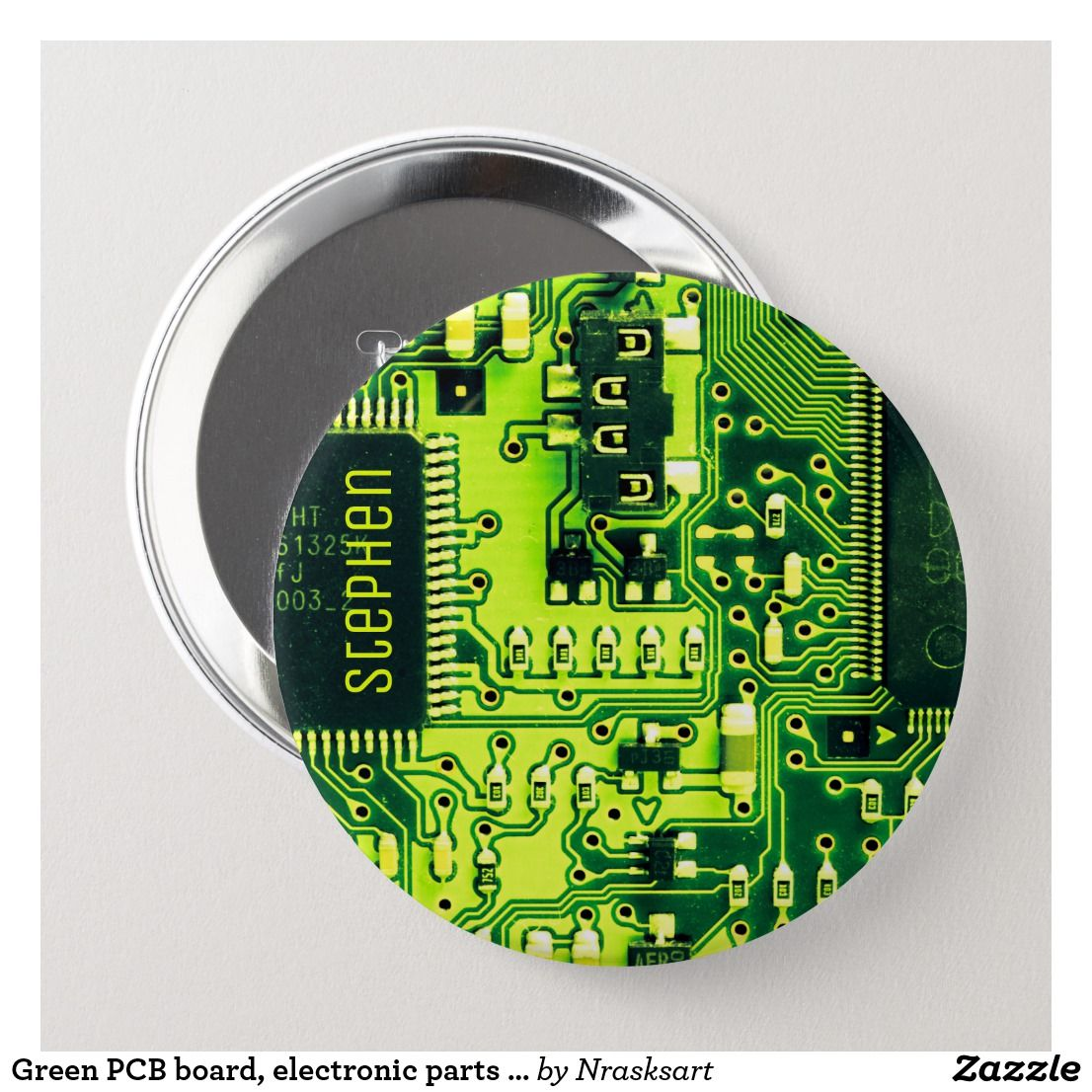 Green Pcb Board Electronic Parts Printed Circuit Button Zazzle Com Electronic Parts Pcb Board Custom Buttons