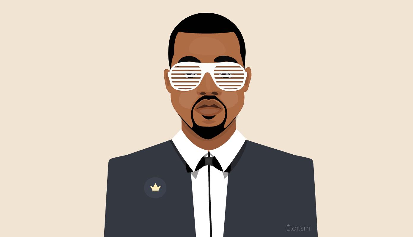 Kanye West Illustration Portrait By Eloitsmi For Officevibe Infographic Illustration Web Design Visual Communication