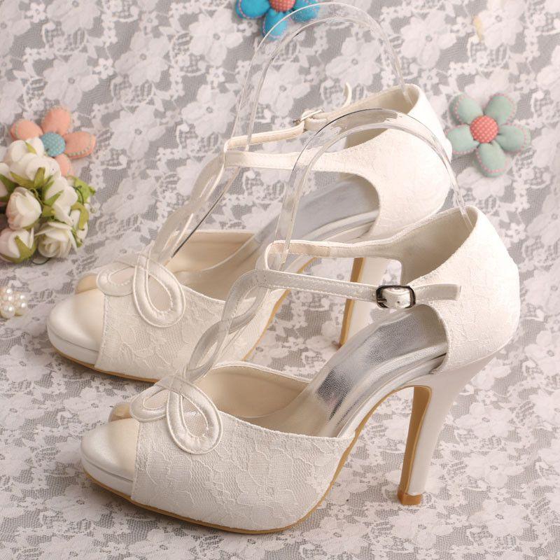 Wedopus MW312 T-Strap Summer Platform Women Sandals High Heels White Bridal  Wedding Shoes Small Size 9b30dc4f2f09