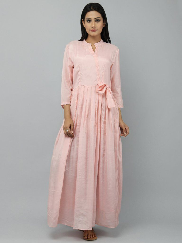 Old Rose Cotton Silk Pleated Maxi Dress | THE LOOM WESTERN WEAR ...