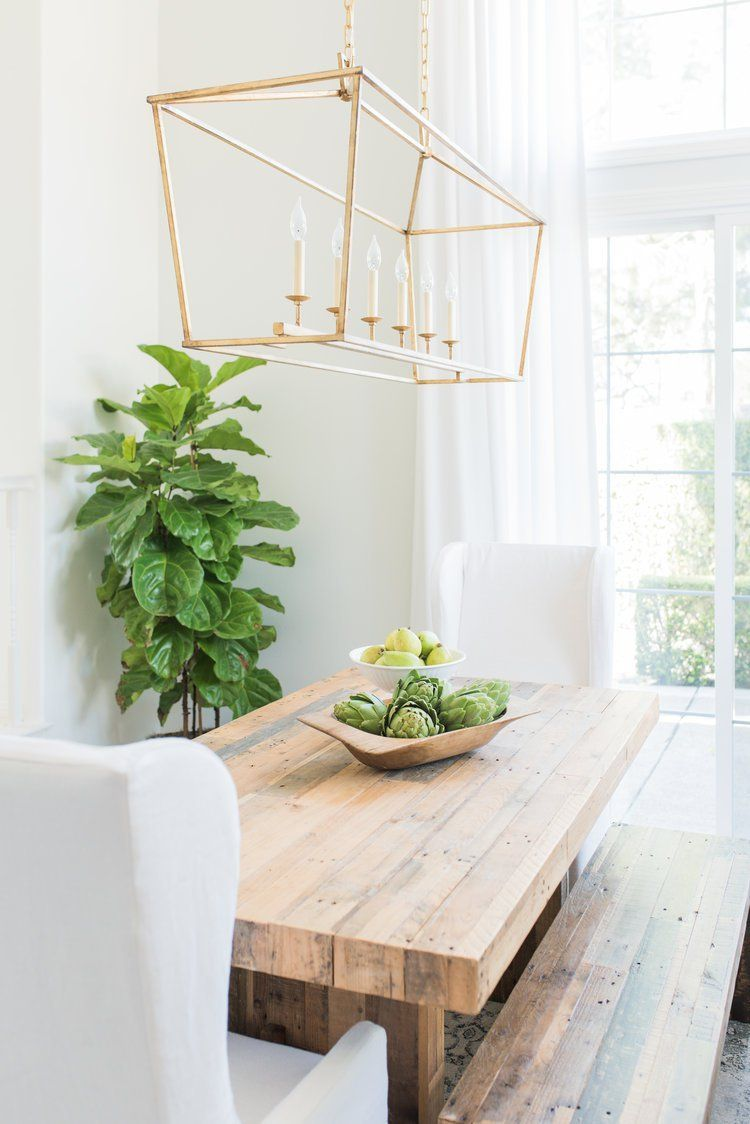 Stunning Light And Bright Dining Room White Chairs Wood Bench Gold Rectangular Chandelier W Gold Dining Room Dining Room Light Fixtures Bright Dining Rooms