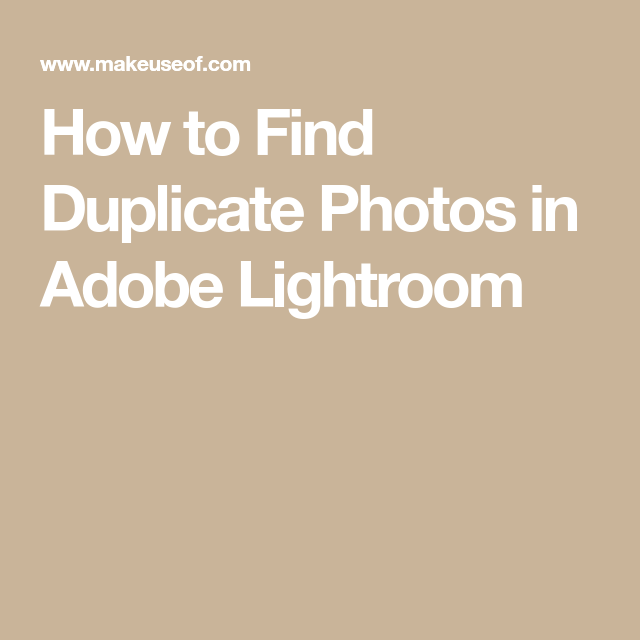 How to find duplicates in lightroom