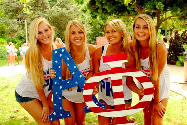 Sdsu alpha phi sorority girls holding the greek letter signs