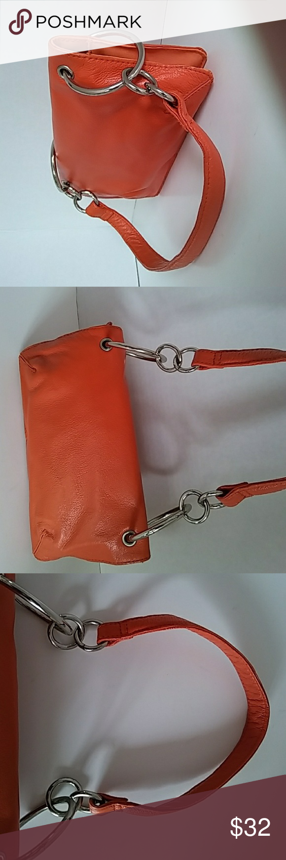 WILSON LEATHER PRETTY💚RETRO STYLE MINI PURSE woma Genuine Leather  Pre loved 💚 Nice condition. Georgeus Retro Style hardware . This mini bag  is Really Pretty!!! note: the fabric inside show noticeable change in color (please see the picture), overall aparience IS OK 💚  Dimentions: 9 inch W x 5 inch H aprox Sells as Shown.  😁10% off in bundles (purchase 2 or more items and  only 1 shipping) Wilsons Leather Bags