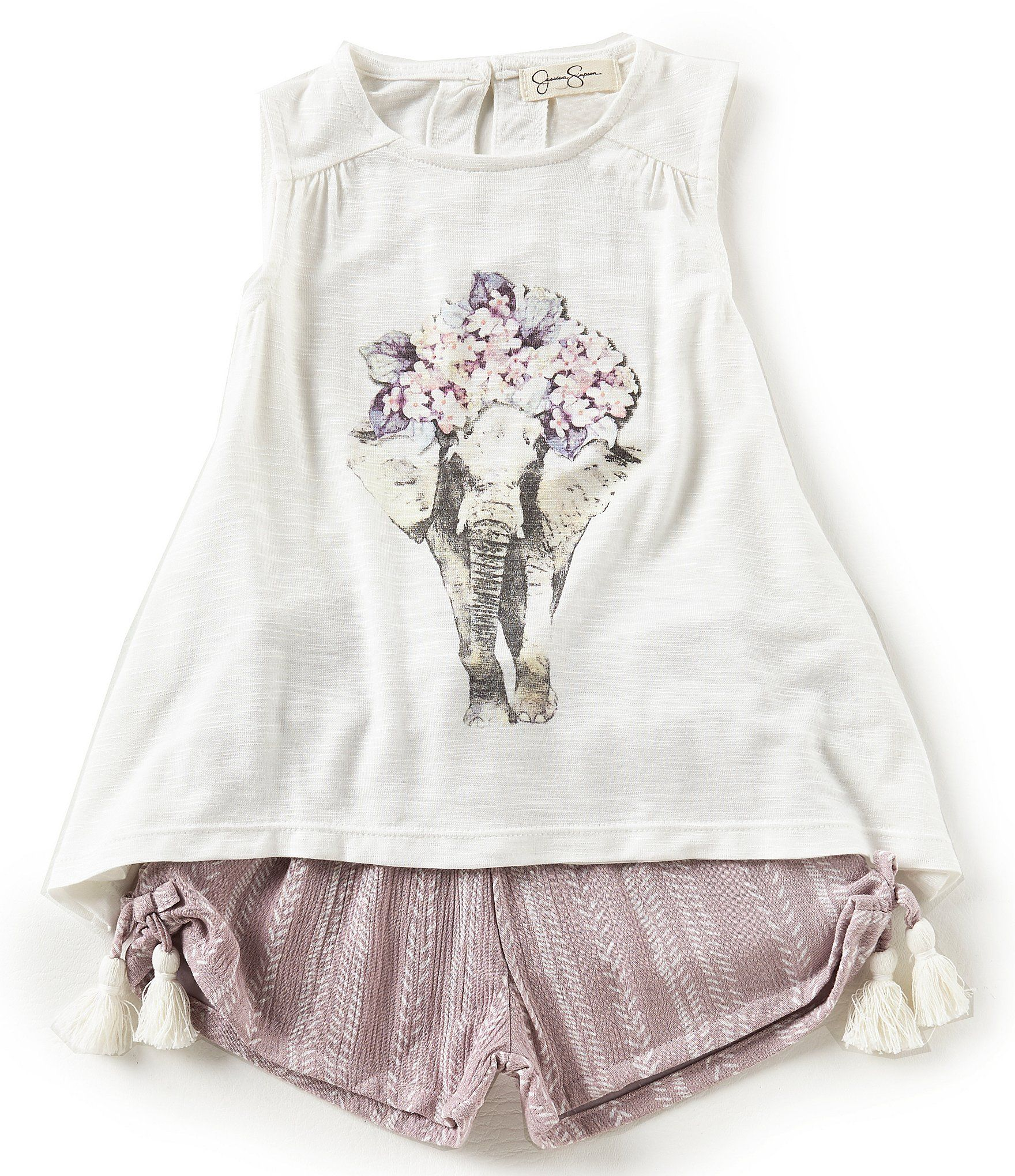 Jessica Simpson Baby Clothes Amazing Jessica Simpson Baby Girls 1224 Months Denim Tank Top & Tropical Design Decoration
