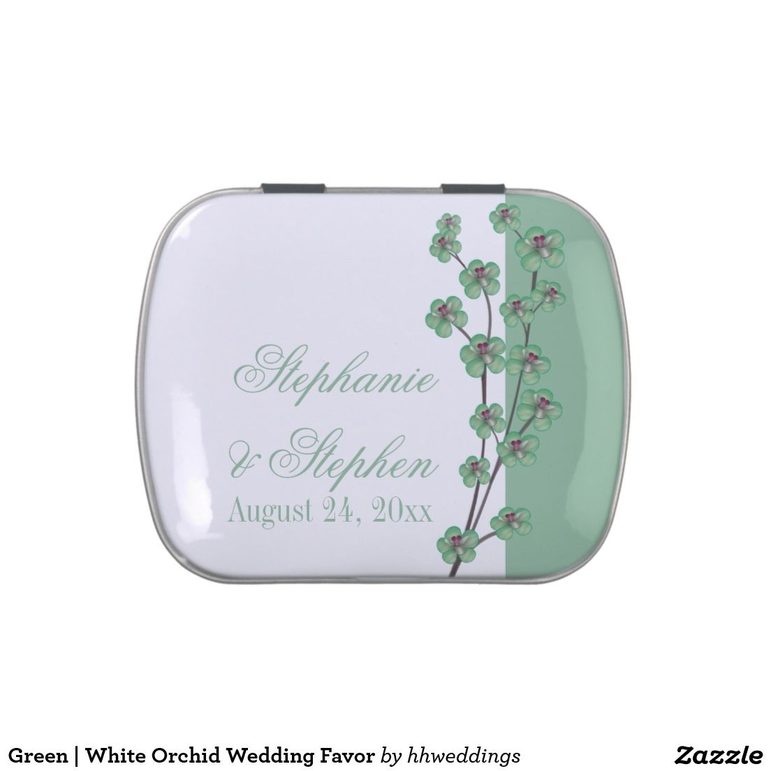 Green | White Orchid Wedding Favor Jelly Belly Tins | White orchids ...