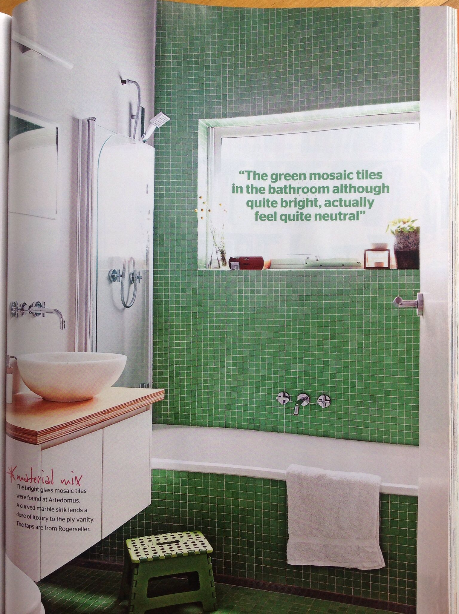 Love this green and white bathroom, especially the taps